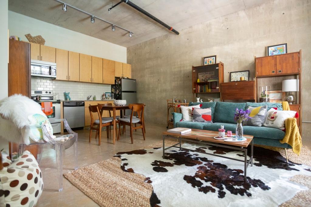 mid century boho living room