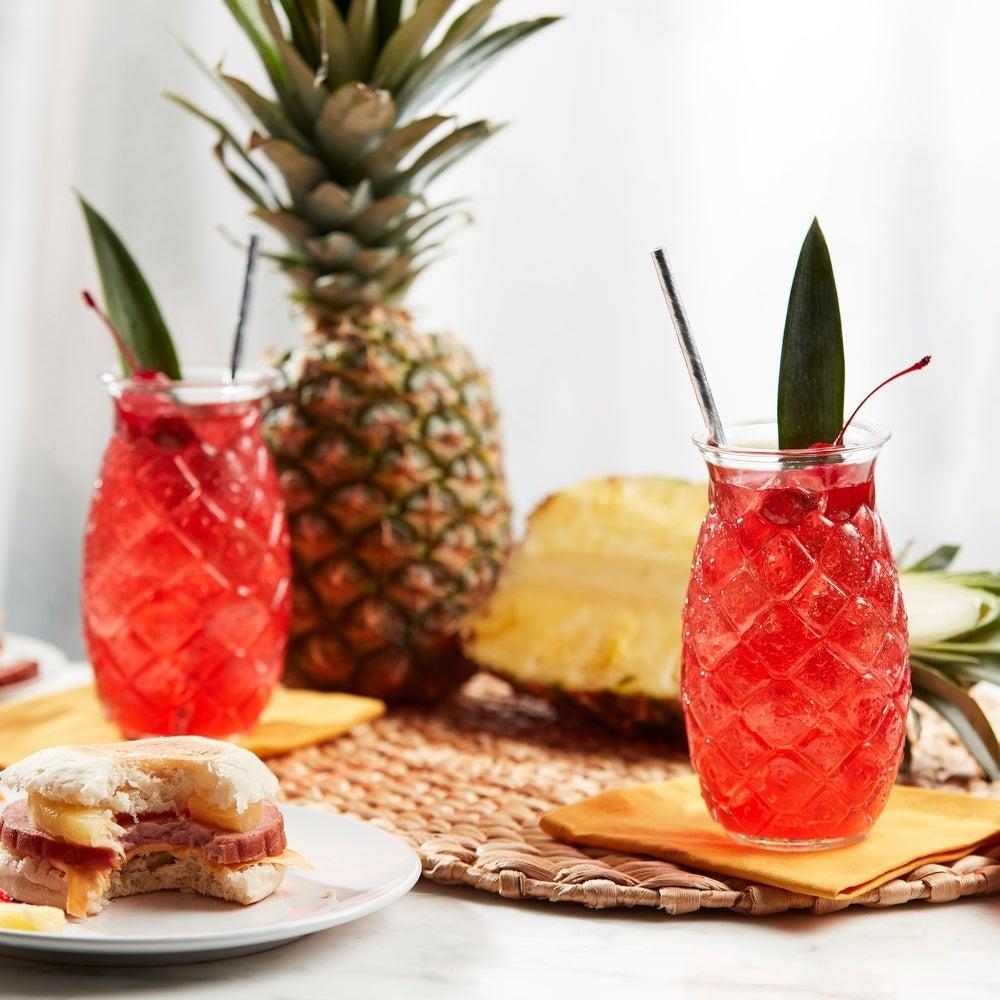 Libbey-Tiki-Pineapple-Glasses,-Set-of-4